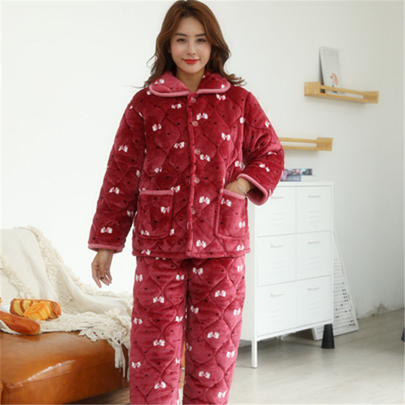 2 Piece Winter Women Pajamas set Sweet Thick Flannel Long Homewear Sleep Lounge Velvet Pajama Female Pyjama 30