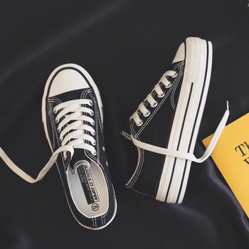 Damskie buty na platformie 2019 letnie nowe modne damskie buty na co dzień jednolite płótno wysokie cukierki kolor kobiety obuwie Sneakers tanie i dobre opinie HOPUS Szycia Stałe Cotton Fabric Wiosna jesień Med (3 cm-5 cm) Lace-up Pasuje mniejszy niż zwykle proszę sprawdzić ten sklep jest dobór informacji