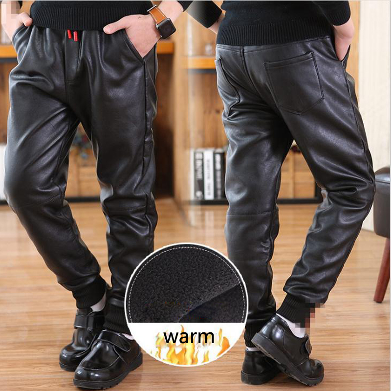 Children's winter trousers casual style Pu leather pants warm boys pants for 12Y black thick unisex mid kids trousers promotion 1