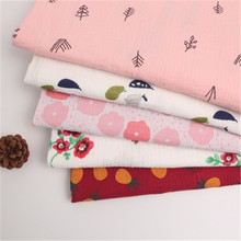 Cotton double-layer crepe plant printing cotton fabric home service scarf baby saliva towel blanket gauze woven