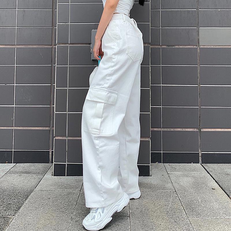 Брюки карго женские в Корейском стиле свободные джинсы бойфренды