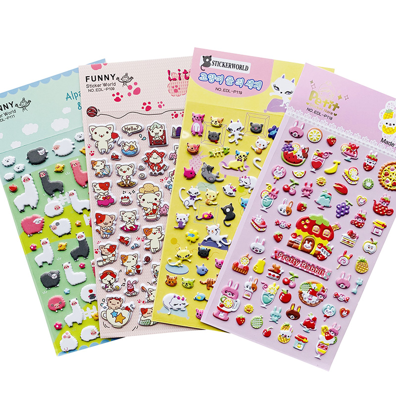 1 Sheet Cute Little Cat Alpaca & Sheep Rabbit & Cake Puffy Adhensive Stickers DIY Stick Label Hand Account Decor Stationery