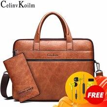 """Celinv Koilm herren Aktentasche Taschen Für 14 """"Laptop Business Tasche 2Pcs Set Handtaschen Hohe Qualität Leder Büro schulter Taschen Tote"""