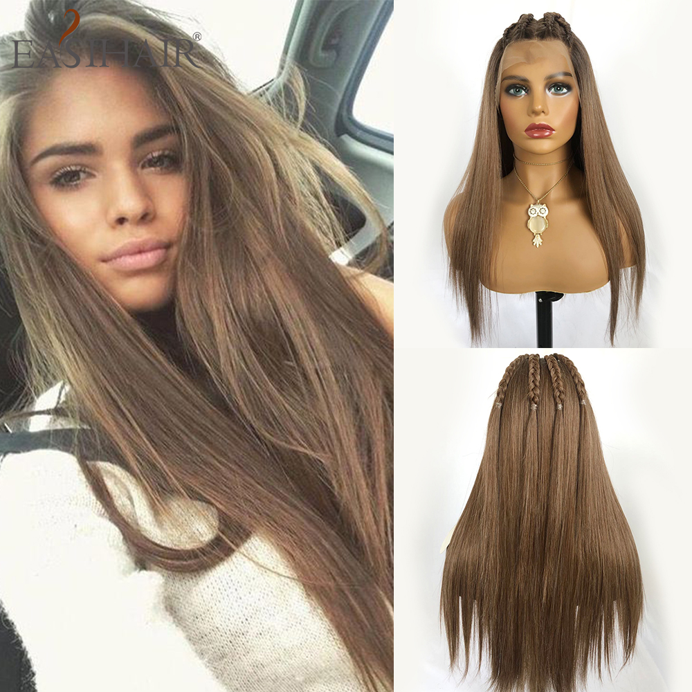 EASIHAIR Long Straight Brown Mixed Grey Lace Front Wigs With Baby Hair Lace Synthetic Wigs Women High Density Natural Hair Wigs