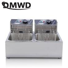 DMWD коммерческие двойной два цилиндра электрическая фритюрница фри печь hot pot жареная курица жарки машина Пан 2 нефтяных резервуаров