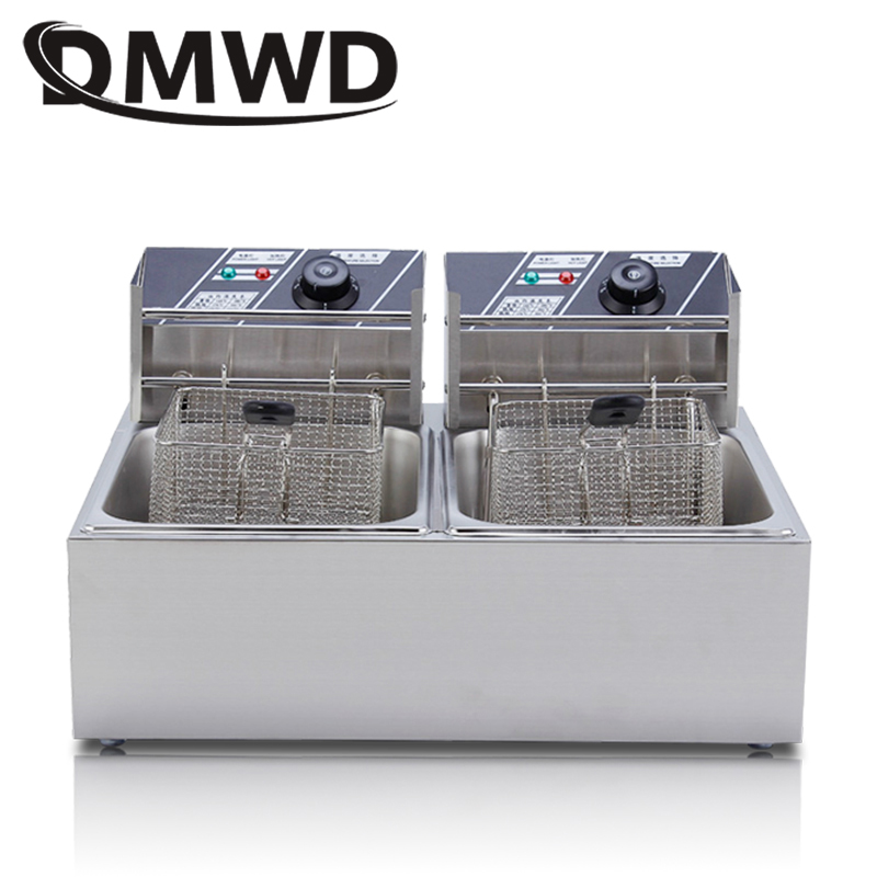 DMWD Commercial double Two cylinder electric deep fryer french fries oven hot pot fried chicken frying machine pan 2 Oil Tanks|Electric Deep Fryers| |  - title=