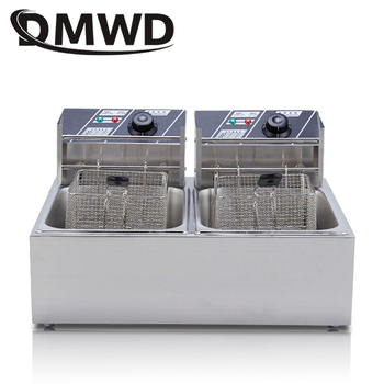 DMWD Commercial double Two cylinder electric deep fryer french fries oven hot pot fried chicken frying machine pan 2 Oil Tanks