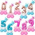 Количество фольги шары 15 шт первый день рождения 0-9 Воздушные шары День рождения украшения дети ребенок душ пользу Свадебный фольгированны...