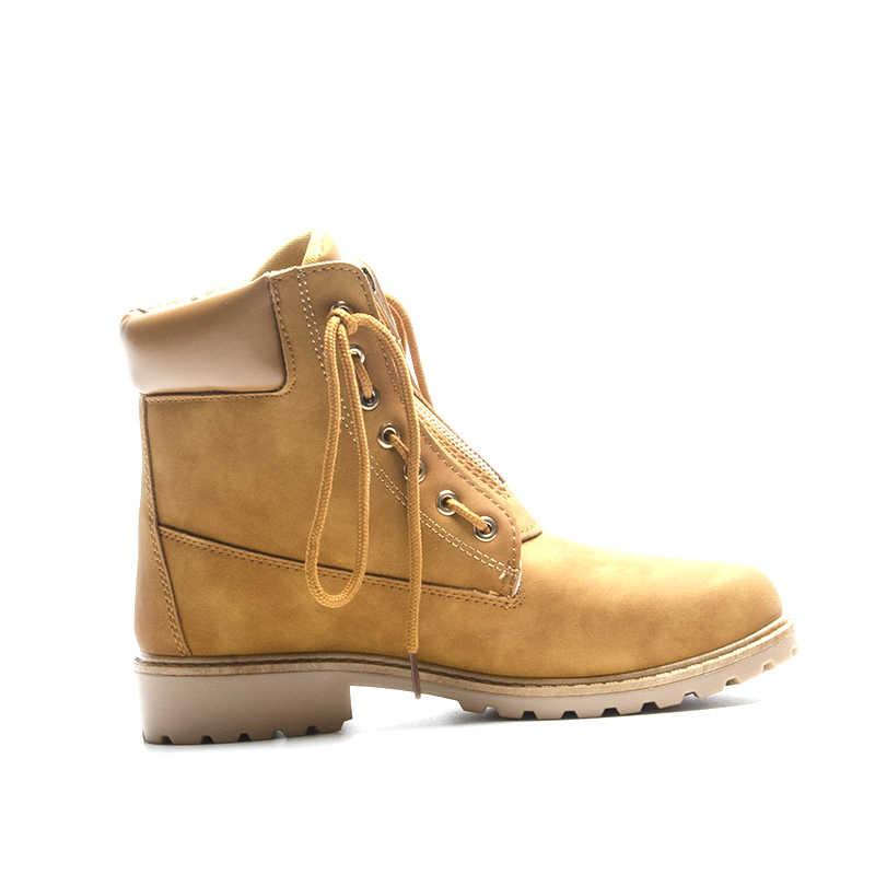 Fujin yeni pembe kadın botları sonbahar dantel up katı rahat yarım çizmeler yuvarlak ayak Zip dantel upWomen ayakkabı kış çizmeler platformu