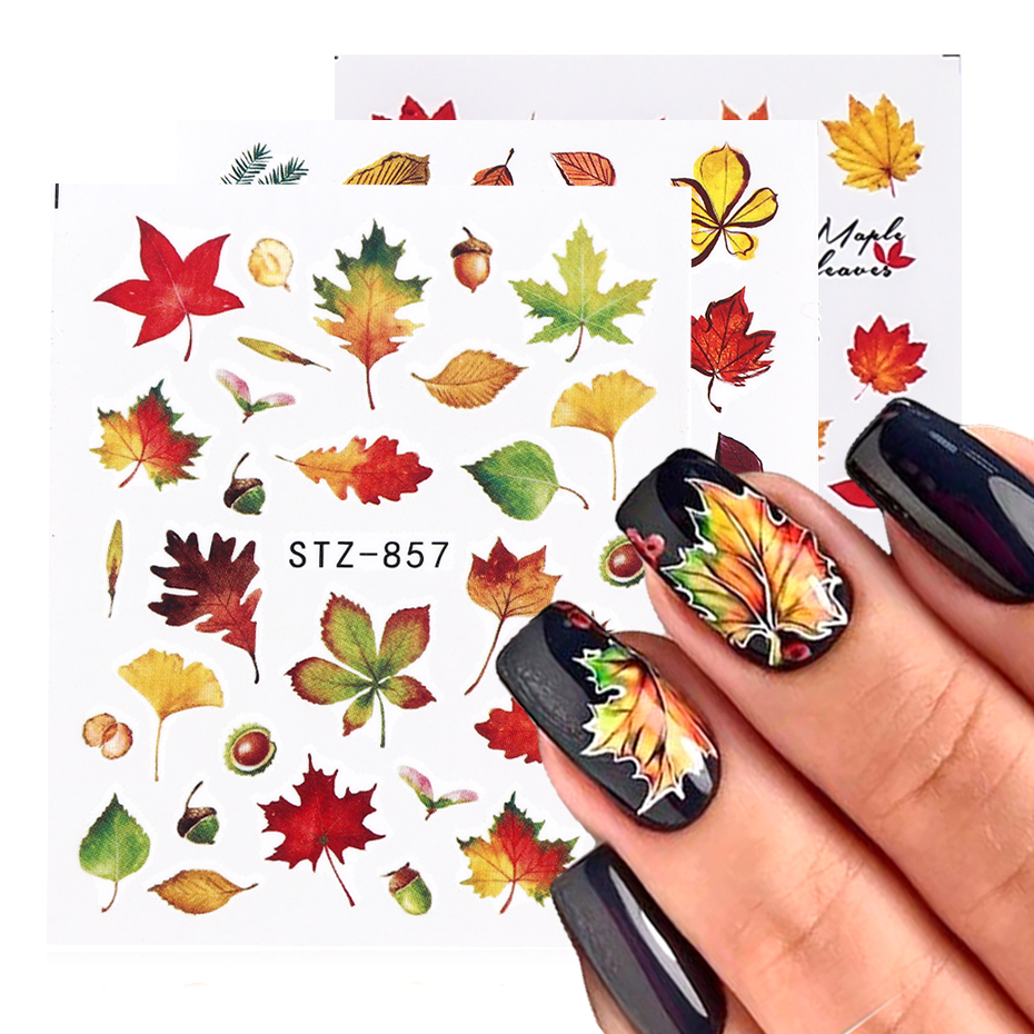 1pcs Fall Leaves Nail Art Stickers Gold Yellow Maple Leaf Water Decals Sliders Foil Autumn Design For Nail Manicure TRSTZ856-859