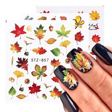 1 Pcs Daun Nail Art Stiker Kuning Emas Maple Leaf Air Decals Slider Foil Musim Gugur Desain untuk Kuku Manikur TRSTZ856-859(China)
