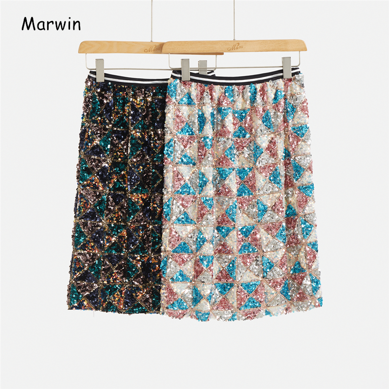 Marwin 2020 New-Coming Spring Geometric Sequined Straight Mid-Calf Empire High Street Style Women Skirts Party Holiday Skirts