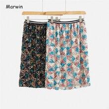 Женская юбка с пайетками Marwin, прямая юбка до середины икры с геометрическим узором, праздничная юбка, весна 2020