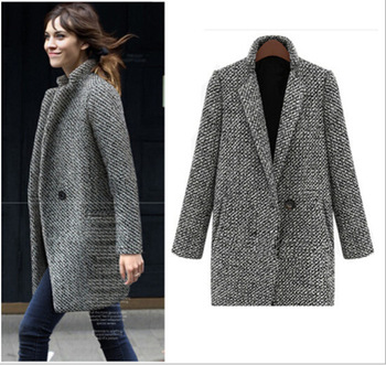 new thick warm woolen coat mid-length coat lapel coat large size plaid long-sleeved woolen coat S-7XL plus size women's clothing notch lapel patch pocket back vent woolen coat