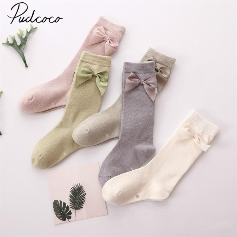 Pudcoco Baby Stuff Baby Girl Socks Knee High Princess Socks For Girl Sweet Cute Long Tube Kids Candy Color Bows Leg Warmer 2-8T