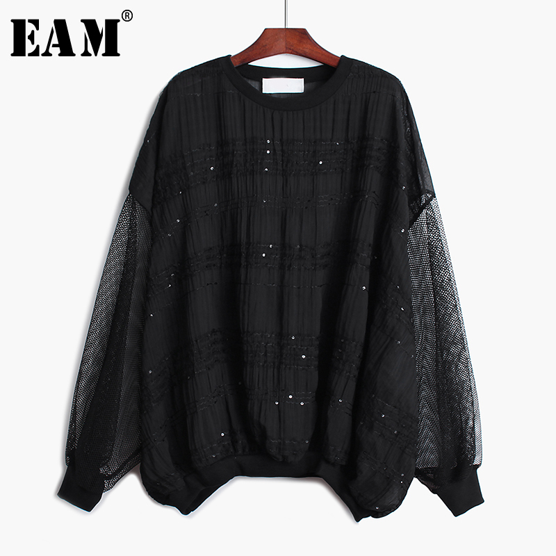 [EAM] Loose Fit Spliced Hollow Out Chiffon Sweatshirt New Round Neck Long Sleeve Women Big Size Fashion Autumn Winter 2020 1A565