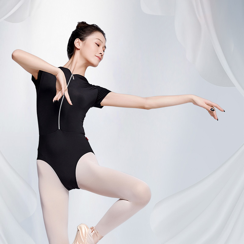 Women Zipper Ballet <font><b>Dance</b></font> Bodysuit Leotard Adult High Neck Gymnastics Leotards Fastener Short Sleeve One Piece image