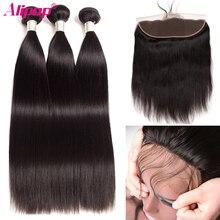 Прямые пучки волос с фронтальным перуанским пучком человеческих волос с закрытием предварительно выщипанные Remy кружевные фронтальные пучки с пучками ALIPOP