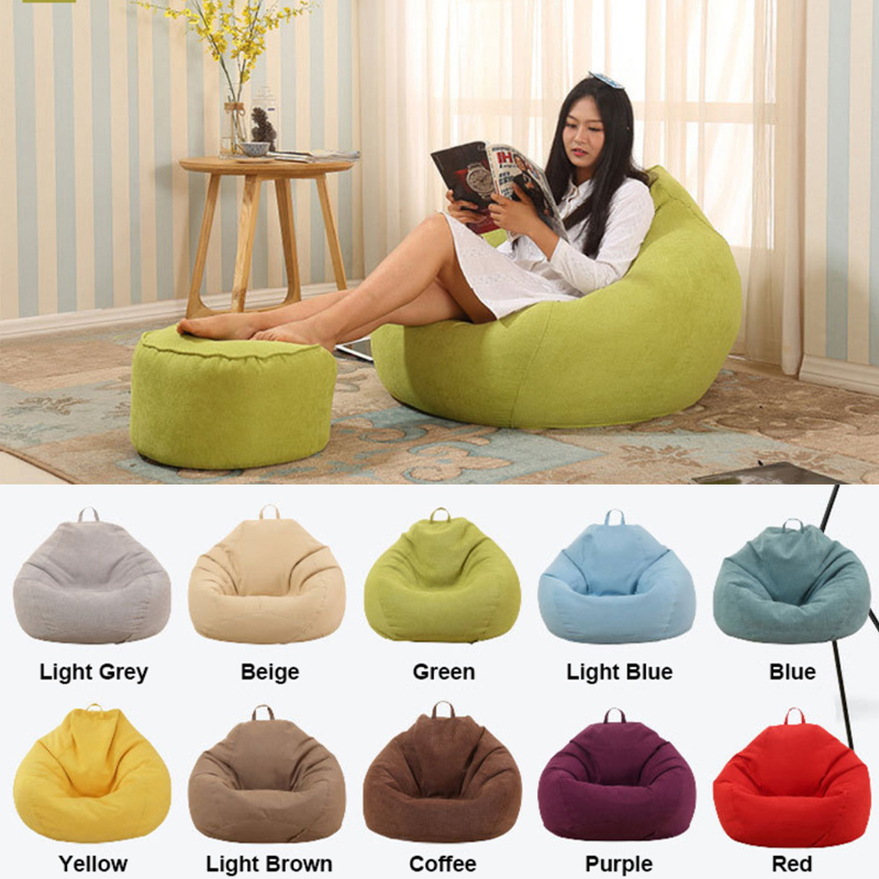 Lazy Sofa Bean Bag Chairs Pouf Puff Couch Lounger Cover Home Decoration Linen Cloth Lounger Couch Tatami Living Room Furniture