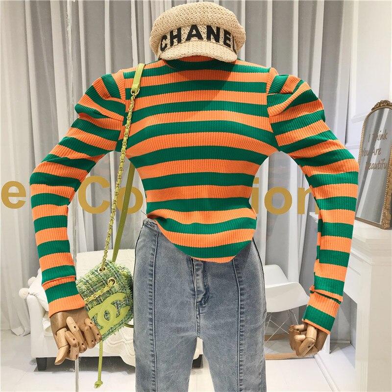 Camiseta a rayas de colores de manga larga de mujer 2019 de invierno de alta calle cuello redondo ropa de mujer de moda coreana ropa de otoño para mujer