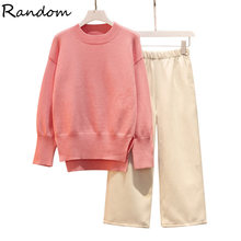 Plus Size Women Kintted Sweater Tracksuit Pink Pullover Top And Pant Two Piece Set 2020 Autumn Winter Cloth Big Home Warm Outfts(China)