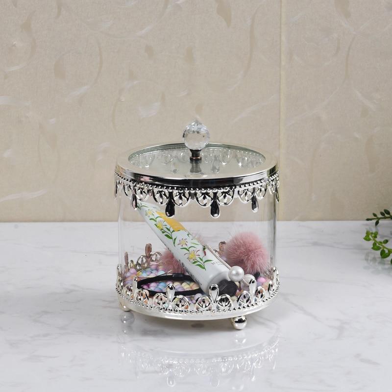 European Electroplating Craft Metal Glass Candy Jar Storage Box Gold Silver Storage Tank Storage Jar Glass Bottle Home Decor