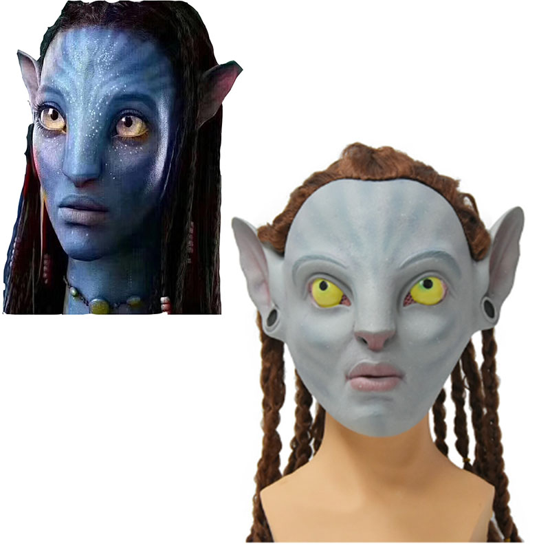 movie <font><b>Avatar</b></font> cosplay latex <font><b>mask</b></font> masques accessoire Neytiri Halloween Costumes masque <font><b>Avatar</b></font> wig Hair braid Unisex image