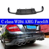 Real Carbon Gloss Black Rear Diffuser Bumper Lip For Mercedes benz W204 2 door 4 door AMG Facelift & C63 2011 2014