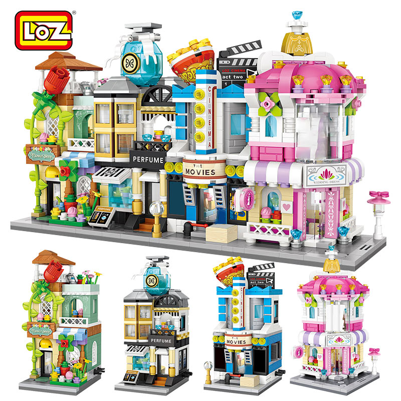 LOZ Mini Blocks City View Scene Cinema Retail Store Candy Shop Architectures Models Building Blocks Christmas Toy For Children