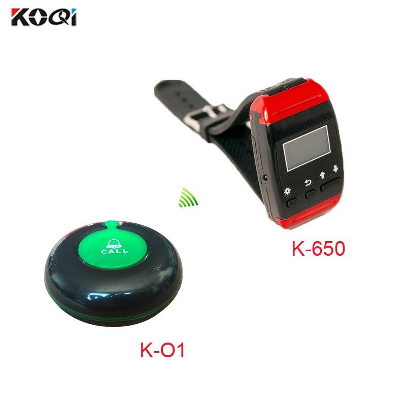 Restaurant Wireless Kellner Anruf Glocke System 10 uhr handgelenk pager + 50 Sender Taste