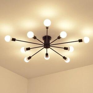 Image 2 - Retro demir avize siyah/beyaz 6/8/10 yuva aydınlatma Vintage örümcek avize Modern tavan lamba ışığı fikstür aydınlatma
