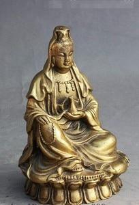 "Image 3 - י""מ 308 סיני בודהיזם פליז לשבת אגרטל משלוח קוואן yin GuanYin הבודהיסטווה אלת פסל"