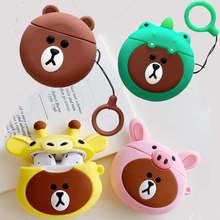 3D Cartoon Cute Bear Case for Apple Airpods 1 2 Bluetooth Wireless Earphone Giraffe Pig Dinosaur Bear Finger Ring Strap Cover