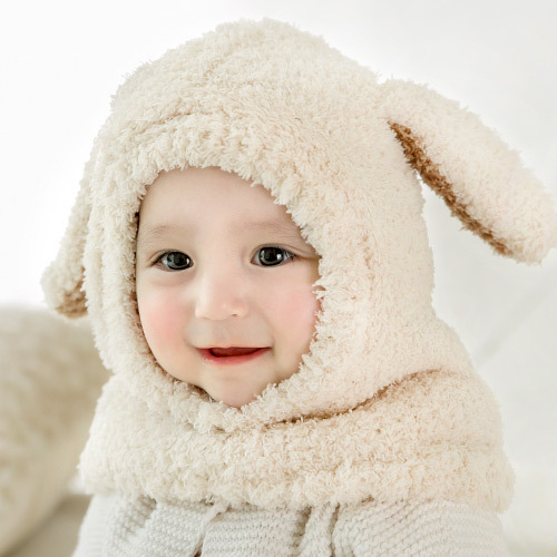 Autumn And Winter Beanie Baby Ear Thicken Warm Baby Hat Scarf Plush Long Ear Siamese Cap