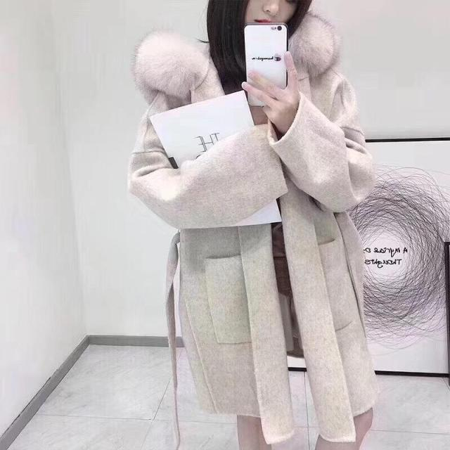 Brand famous Real Cashmere wool Coat With natural Fox Fur Trim Hoodie  ladies real fur Coats Outwear 2