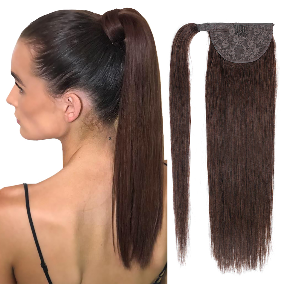 BHF Human Hair Ponytail Straight European Machine Remy Ponytail Wrap Around Horsetail Wig 100g Tails