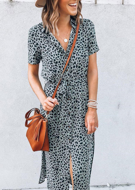 Leopard Slit V-Neck Casual Dress without Necklace 2020 woman dress plus size women clothing New bodycon dress y2k Clothes Female 1