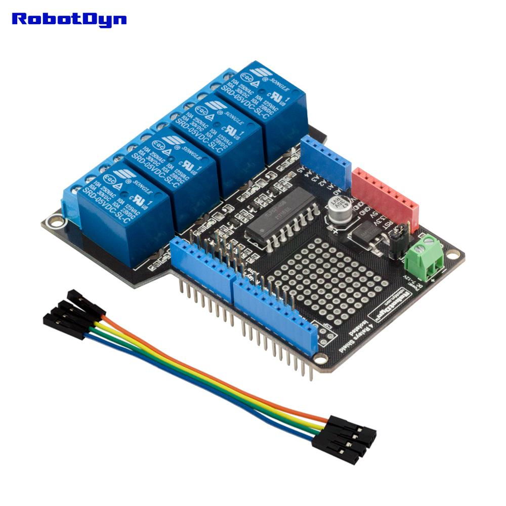 Relay Shield For Arduino Uno, 4 Relays (Assembled)