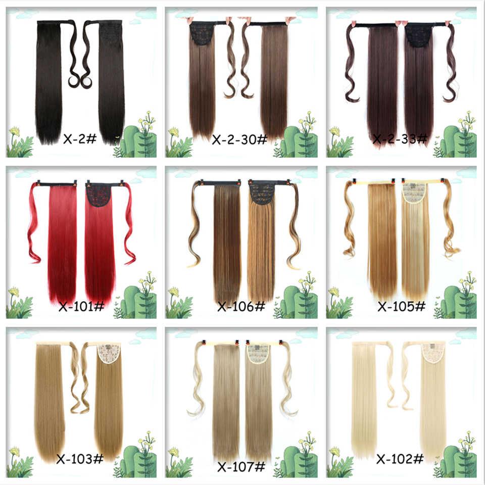 Peluca de cola de caballo larga HUAYA recta para mujeres envoltura sintética resistente al calor alrededor de cola de caballo Clip en extensiones de cabello de maíz ondulado