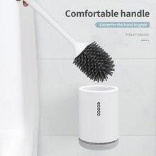 Silikonowa szczotka do Wc zestawy uchwytów Wc ścienna wisząca podłoga w domu stojąca czyszczenie łazienki akcesoria miękkie włosie TPR Head