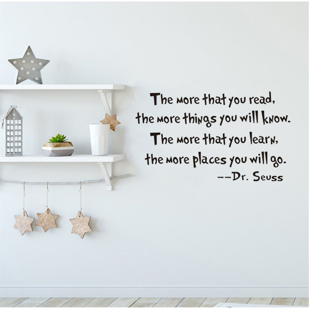 Dr Seuss Quote Motivational Wall Decal Office Vinyl Wall Sticker For Book Room Home Decor Read Learn Quotes Wall Decals Wall Stickers Aliexpress