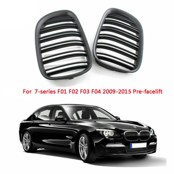 Front Bumper Grill Double Slat Grille for BMW F01 F02 7-SERIES 730D 740I 750I 09-15(Matte Black)