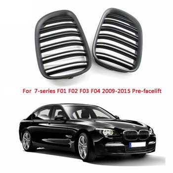 Parrilla de parachoques delantero, rejilla de doble listón para BMW F01 F02 serie 7 730D 740I 750I 09-15 (negro mate)