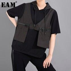 Женская футболка с короткими рукавами [EAM], серая Асимметричная футболка с карманами и капюшоном, большого размера, весна-лето 2020, 1U51201