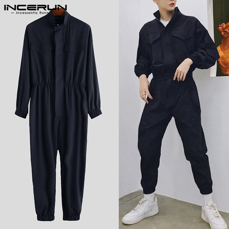 2019 Fashion Men Jumpsuit Joggers Zippers Solid Casual Long Sleeve Rompers Hip-hop Streetwear Pants Men Cargo Overalls INCERUN