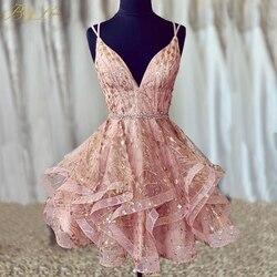 BeryLove/блестящие короткие платья для выпускного вечера 2019, Сексуальное Милое блестящее коктейльное платье с блестками на спине vestido curto