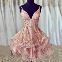 BeryLove Sparkle Short Homecoming Dresses 2019 Sexy Sweetheart Back Crisscross Glitter Shiny vestido curto Sequin Cocktail Gown