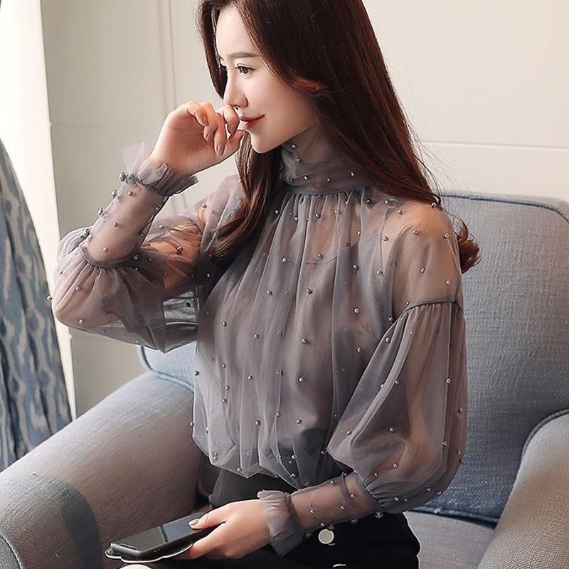 Spring Beading Mesh Blouses Women Sweet Lantern Sleeve Pearls Gauze Blouses Ladies Elegant Shirt Tops Stand Collar Chiffon S-2XL 10