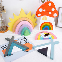 Wooden Rainbow Block mushroom Rainbow Stacker Puzzle Blocks Wooden Toys Montessori Educational Toys for Kids Baby Toddlers