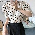С О-образным вырезом с пышными рукавами блузки свободного покроя, Ретро стиль, в горошек, с принтом, летние футболки для девочек, французский...